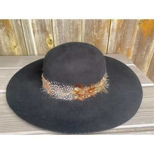 ADORA HATS 100% black wool feather boho hat